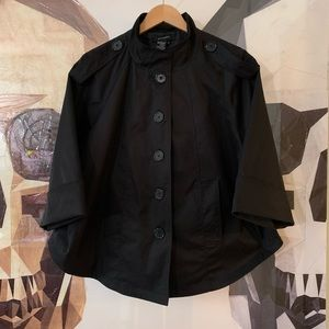 Sandro black button up cape style jacket coat med